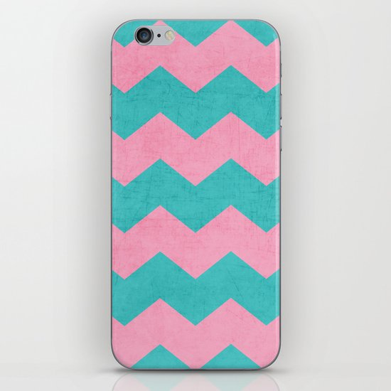 chevron - pink and aqua iPhone Skin