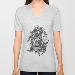 Poetic Lion B&W Unisex V-Neck
