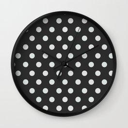 Dark Slate Grey Thalertupfen White Pōlka Large Round Dots Pattern Wall Clock