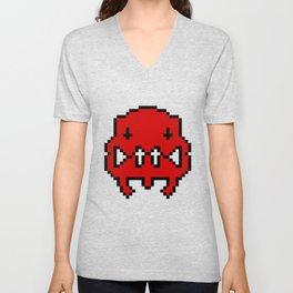 Pixel Invader : Red Unisex V-Neck