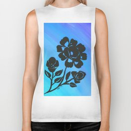 Rose Silhouette with Painted Blue Background Biker Tank