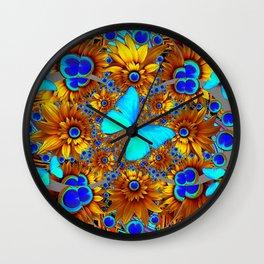 BLUE & GOLD ART DECO BUTTERFLIES & FLOWERS VIGNETTE Wall Clock