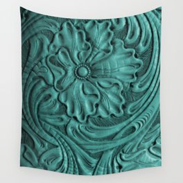 Teal Flower Tooled Leather Wall Tapestry