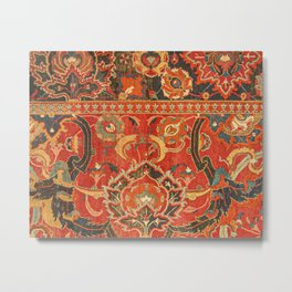 Red Arabic Rug I // 17th Century Colorful Firey Red Light Teal Sapphire Navy Blue Ornate Pattern Metal Print