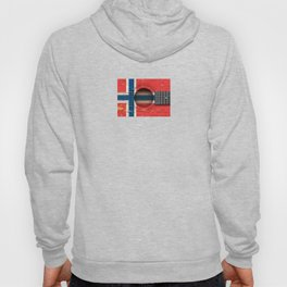 Old Vintage Acoustic Guitar with Norwegian Flag Hoody