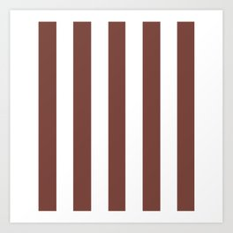 Bole brown - solid color - white vertical lines pattern Art Print