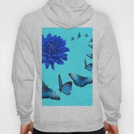 BLUE DAHLIA FLOWER & BLUE BUTTERFLIES ALLURE Hoody