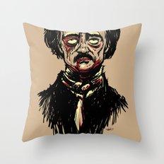 Edgar Allan Poe Zombie Throw Pillow
