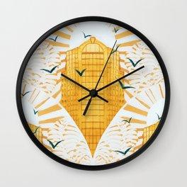 Golden Morning in Metropolis Wall Clock