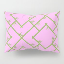 Bamboo Chinoiserie Lattice in Pink + Green Pillow Sham