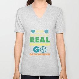 Some Grandmas Knit Real Grandmas Go Geocaching Unisex V-Neck