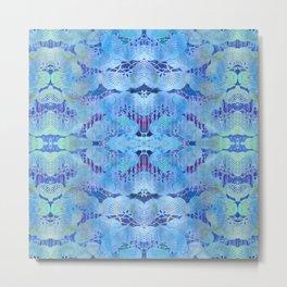 Blue Chinoiserie Blue Mimosa Flower Stencil  Metal Print