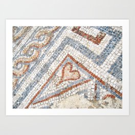 Mosaic Heart | Cute Red Blue and White Tile Old World Charming Decorative Cool Stone Photograph Art Print