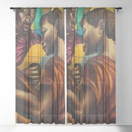 African-American 1951 Classical Masterpiece 'Gospel Singers' by Charles White Sheer Curtain