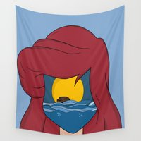 ariel Wall Tapestries featuring Ariel  by NotNorrah