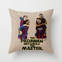 neymar Throw Pillows featuring The Padawan Becomes The Master by IremYorukoglu