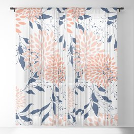 Floral Prints and Leaves, White, Coral and Navy Sheer Curtain