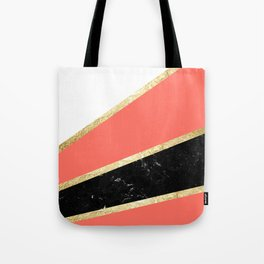 Living Coral, White, Black Marble and Gold Stripes Glam #1 #minimal #decor #art #society6 Tote Bag