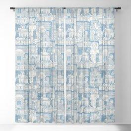 Washington DC toile blue Sheer Curtain