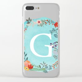 Personalized Monogram Initial Letter G Blue Watercolor Flower Wreath Artwork Clear iPhone Case