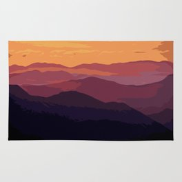 Blue And Purple Hills Rug