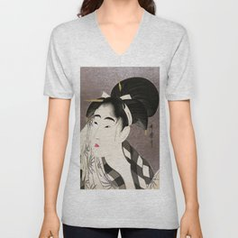 Kitagawa Utamaro, Japanese Woodblock Print Unisex V-Neck