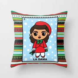 Christmas Loteria La Dama Throw Pillow