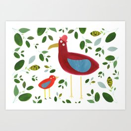 Birds and leaves Art Print