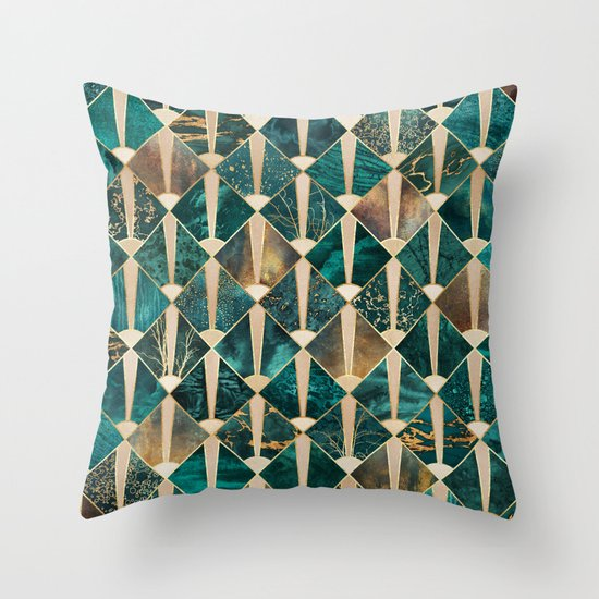 Art Deco Tiles - Ocean Throw Pillow