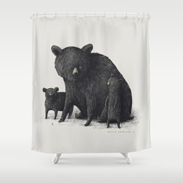 Black Bear Family Shower Curtain