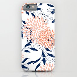 Floral Prints and Leaves, White, Coral and Navy iPhone Case