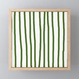 Simply Drawn Vertical Stripes in Jungle Green Framed Mini Art Print
