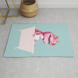 Pink T-Rex in Bathtub Rug