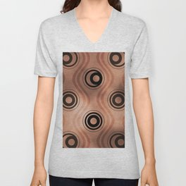 Bold Circle Rings and Wavy Lines on Abstract Blur Sherwin Williams Canyon Clay Unisex V-Neck