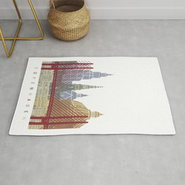 Copenhagen skyline poster Rug