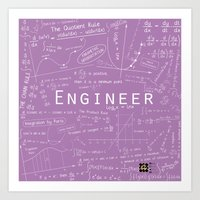 engineer Art Prints featuring Purple - ENGINEER by Be Raza