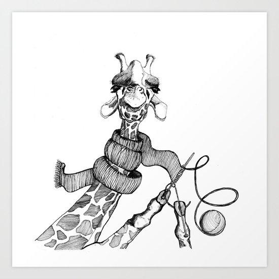 Knitting Giraffe by baublegarden