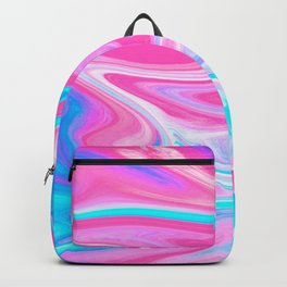 Modern abstract pink turquoise blue bright marble effect Backpack