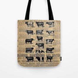 Vintage 1896 Cows Study on Antique Lancaster County Almanac Tote Bag