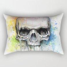 Skull Rainbow Watercolor Painting Rectangular Pillow