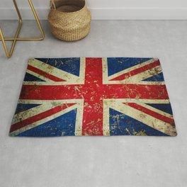 Grunge Scratched Metal Union Jack / British Flag Rug