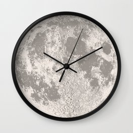 Full Moon Print (natural), by Christy Nyboer Wall Clock