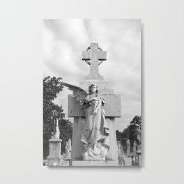 Angel Statue Cemetery Graveyard Tomb Gothic Catholic Cuba Spain Havana Broken Wing Cross Metal Print