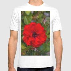 Vibrant Red Flower Mens Fitted Tee MEDIUM White