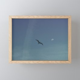 The seagull and the moon Framed Mini Art Print