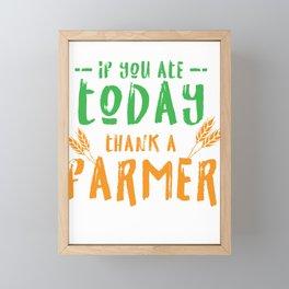 Thank A Farmer Farm Farming Agriculture Ranch Tractor Gift Framed Mini Art Print