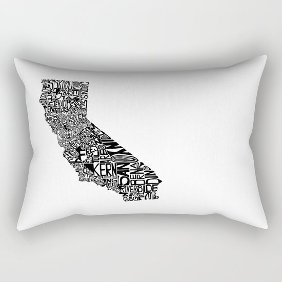 Typographic California Rectangular Pillow