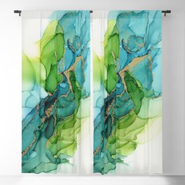 Green Blue Gold Abstract Ink Painting Blackout Curtain