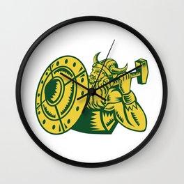 Viking Warrior Hammer Shield Woodcut Wall Clock