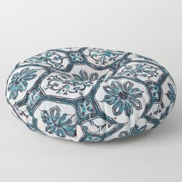 Floral ceramic tile design in blue color #Terrazzo #Blobs Floor Pillow